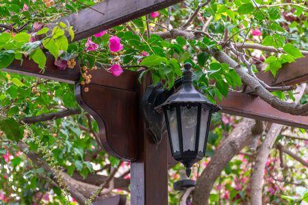 A vintage street lamp illuminates the street at night.
