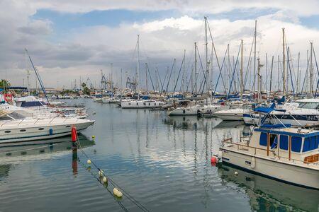 Yachts moored at the marina.