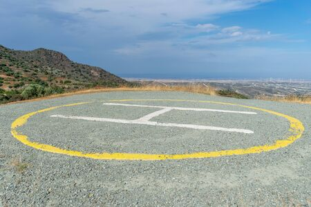 Helipad on the top of the mountain, near the Stavrovouni Monastery Archivio Fotografico - 145837947
