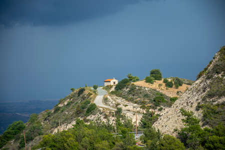 The ancient Greek chapel is located at the top of the mountain. Archivio Fotografico