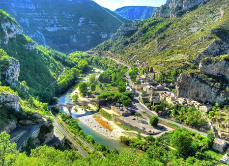 hdr background: Gorges of Tarn Stock Photo