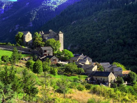 gorges: Village in Tarn gorges Stock Photo