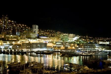 monaco: Monaco harbor at night Stock Photo