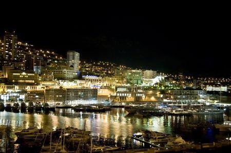 Monaco harbor at night Reklamní fotografie