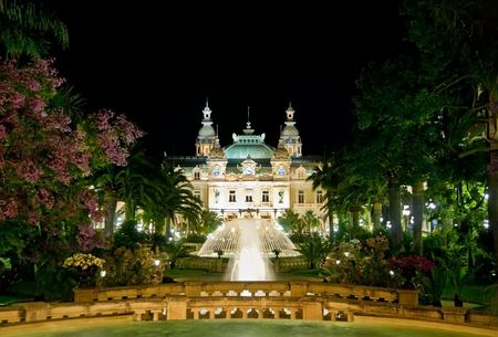 monaco: Monte Carlo place with parks and the casino Stock Photo
