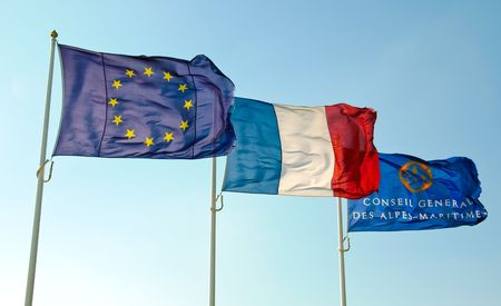 alpes maritimes: european, french and Alpes Maritimes flags