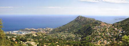 alpes maritimes: aerial view of La Turbie and Monaco Stock Photo