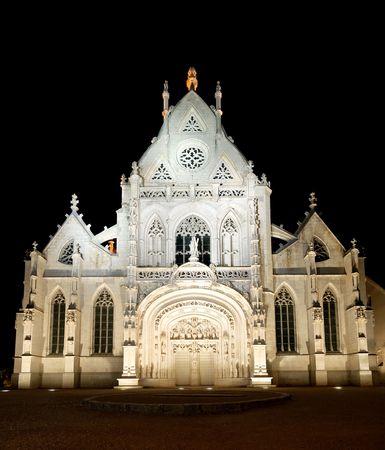 Brou church of Bourg en Bresse at night Reklamní fotografie