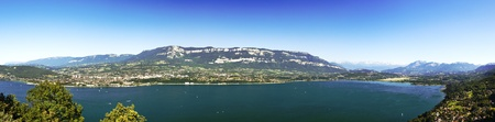 les: Bourget lake near Chambery and Chambery is the biggest lake of France