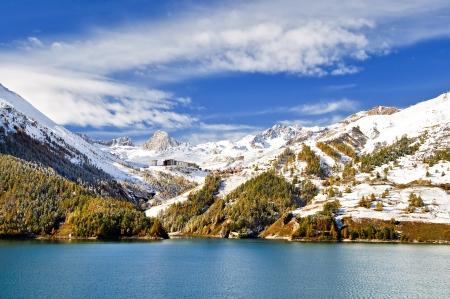 Chevril lake and Tignes photo