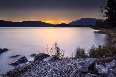 Lake of Aix les Bains at dusk