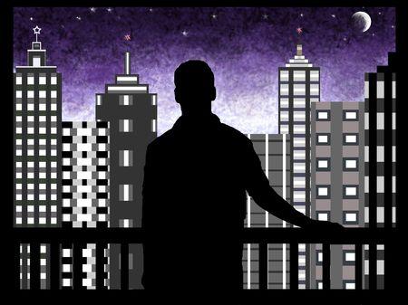 Hombre que observa la ciudad