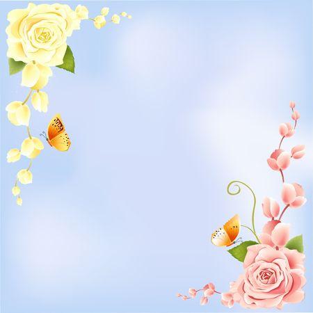 Rose on Blue Background photo