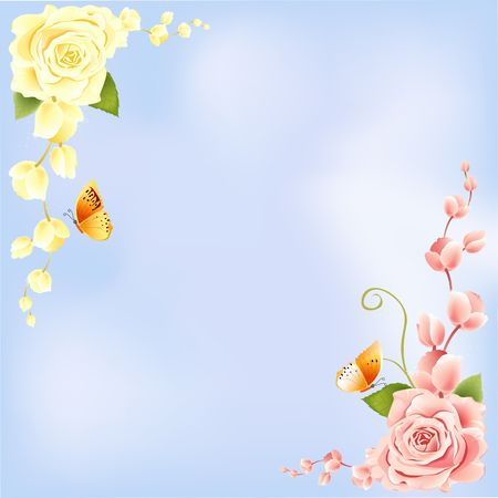 flora vector: Rose on Blue Background