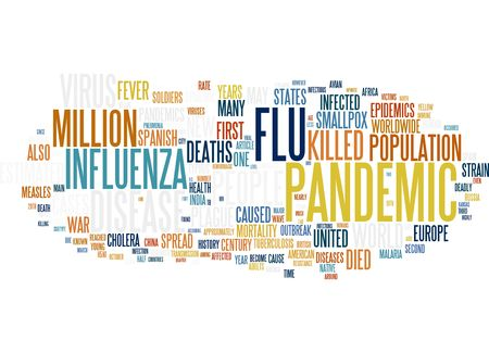 flu vaccination: Flu Pandemic H1N1 word cloud Stock Photo