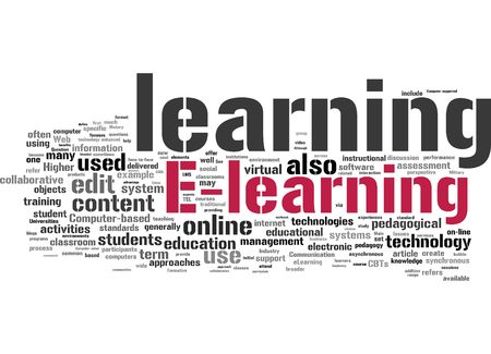 distance learning: E-learning word collage Stock Photo