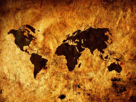 Old vintage world map - All continents Stock Photo - 6640893