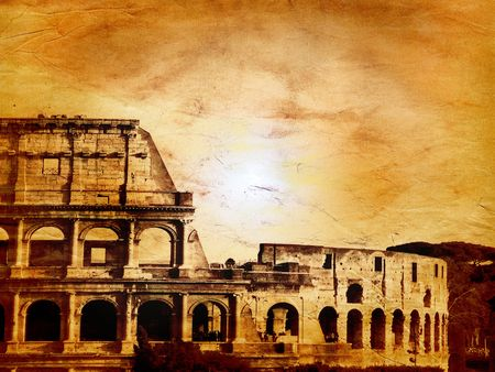 Vintage Roma - Sun over the Colosseum in Rome, Italy photo