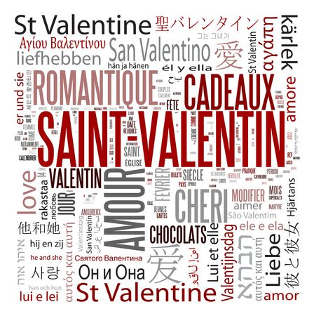french text: St Valentine Multilanguage word collage on white