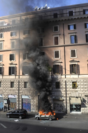 Rome, Italy - October 15, 2011: Riots in Rome - Italian Students Protest