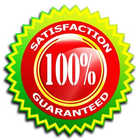 100  Satisfaction guaranteed symbol - Isolated on white photo