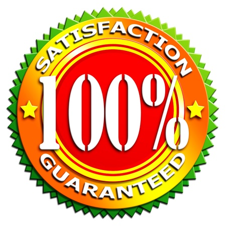 100  Satisfaction guaranteed button - Isolated on white photo