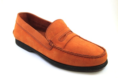 moccasin: Isolated Leather Moccasin - shoe leather Stock Photo