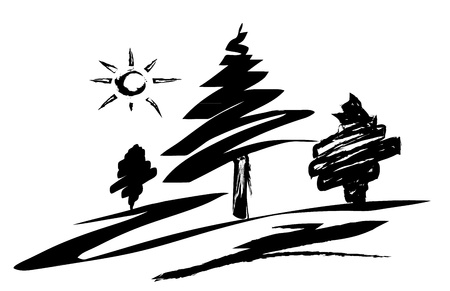 Silhouetted Sketch of Trees Stock Photo - 13062996