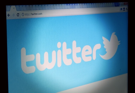 Twitter site start page Closeup on LCD Screen, Chrome Web Browser Stock Photo - 13062302