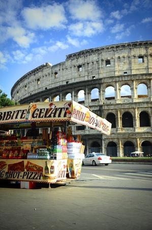 gelato: Snacks market stall near the Colosseum in Rome Editorial