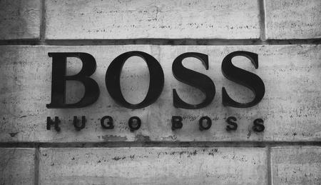 hugo: Sign of Hugo Boss shop in Rome