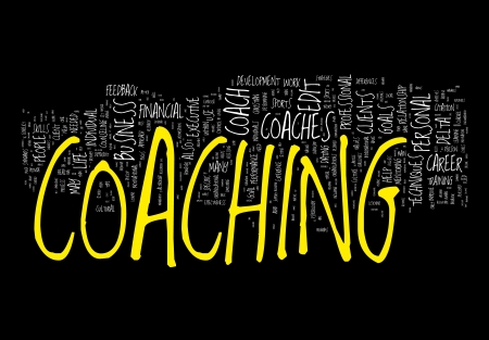 life coaching: Coaching Concepts on black background Stock Photo