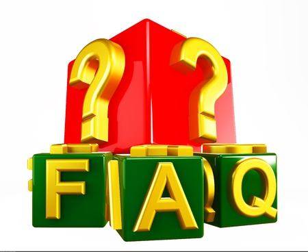 FAQ - frequently asked questions isolated on white  Stock Photo - 16436047