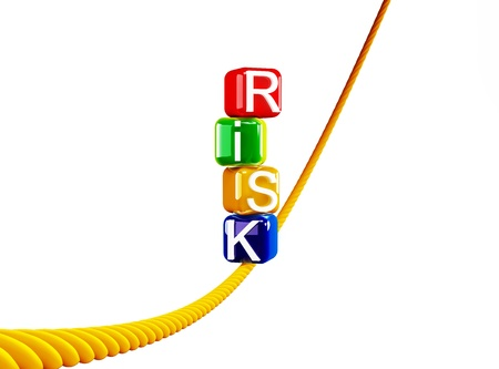 tightrope walker: Risk colored blocks on a rope