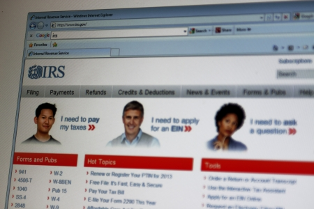 Close up of Internal Revenue Service  IRS  main page on the web browser
