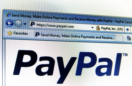 paypal: PayPal start page in browser window with internet address on top  Editorial
