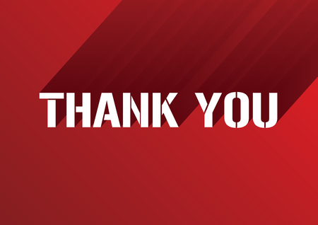 White Thank You message over red background Stock Photo