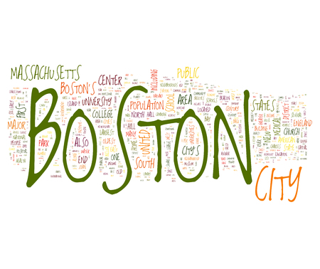boston tea party: Boston city collage of word concepts