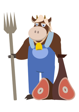 mister: Mister cow holding a fork with beef
