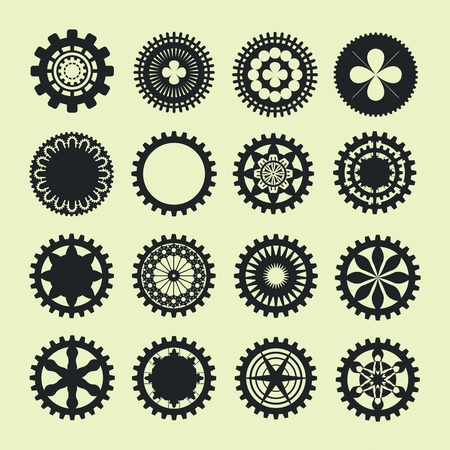 busyness: gears collection in vintage style icon