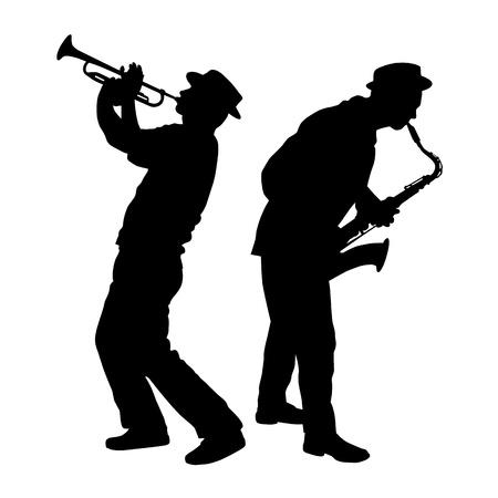 saxofon: silueta de un jugador de saxofón y la trompeta Vectores