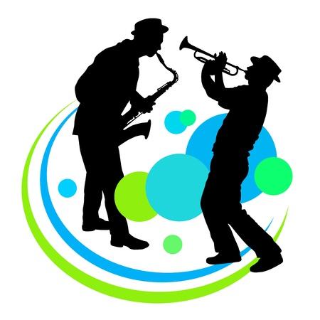 Silhouette d'un joueur de saxophone et trompette Banque d'images - 21932248
