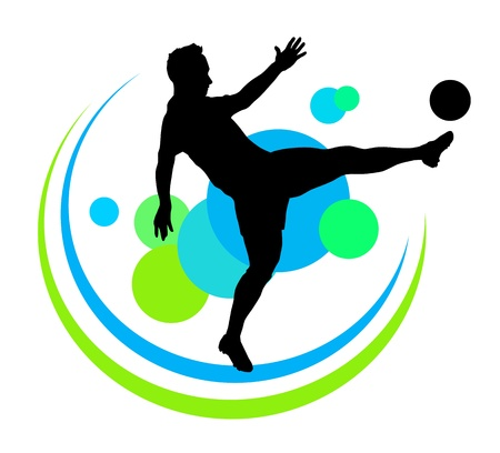 silhouette of soccer player with elements Illustration