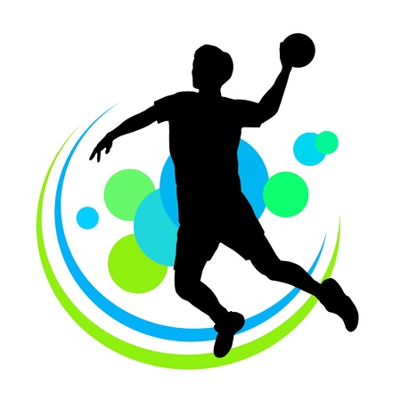 handball: silhouette of handball player with elements