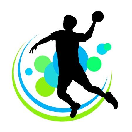 balonmano: silueta de jugador de balonmano con elementos Vectores