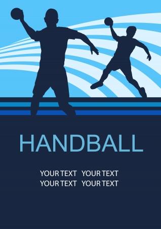 balonmano: balonmano deporte fondo del cartel Vectores