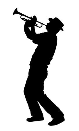 trompeta: silueta de un jugador de la trompeta