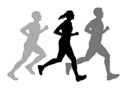 donna che corre: Illustrazione - persone in esecuzione