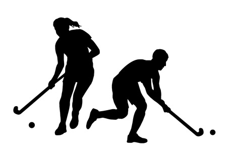 hockey sobre cesped: Ilustración - Campo de jugadores de hockey Vectores