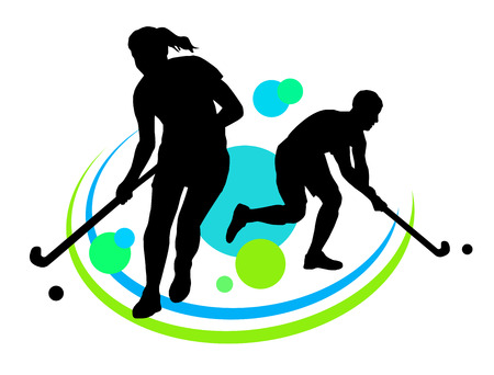 field hockey: Illustration - field hockey players